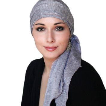 Light Plum Heather Jersey Turban, Head Wrap, Alopecia Scarf, Chemo Hat & Scarf Set