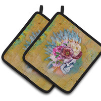 Day of the Dead Flowers Skull  Pair of Pot Holders BB5129PTHD