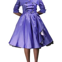 Misses Rockabilly Lilac Roxanne Military Swing Dress (S-2XL)