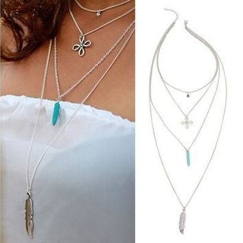 Women's Stylish Retro Multilayers Chinese Knot Star Turquoise Feather Pendant Choker Necklace GIL (Size: One Size) [8081686407]