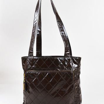 Chanel Vintage Brown Patent Leather Quilted Shopper Shoulder Tote Bag