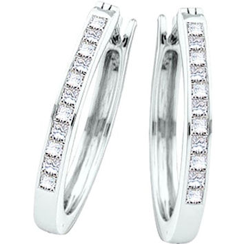 Princess Diamond Ladies Hoops Earrings in 14k White Gold 0.5 ctw