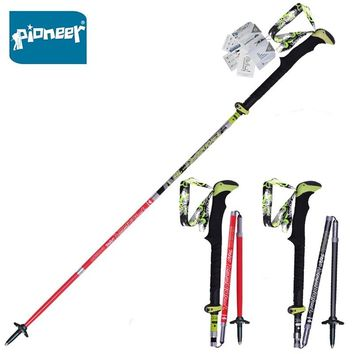 2 Pack Pioneer Carbon Fiber Trekking Poles Ultralight Folding Collapsible Trail Running Hiking Walking Sticks Lightweight Canes