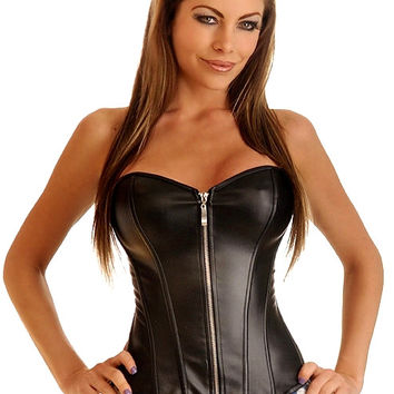 Black Leather Corset With Zipper