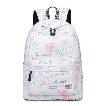 Kawaii Stationery Print Backpack