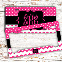 Pretty personalized license plate or frame, Chevron car tag, Girly car accessory, Bike plate, Stocking stuffer idea for teenagers (1439)
