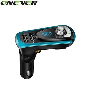 Onever Brand 4-in-1 FM Transmitter Dual USB Port AUX Modulator Car Kit MP3 Player Hands Free Wireless Bluetooth Car Accessories