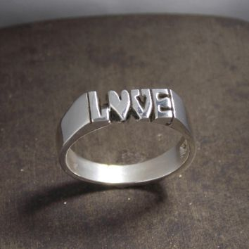 Hand Carved Silver Love Ring With Heart As An O Custom Made To Order