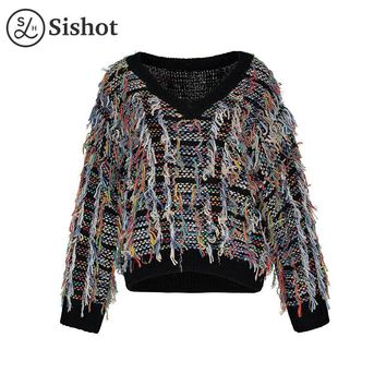 Women casual knitwear autumn black v neck straight tassel color short pullover