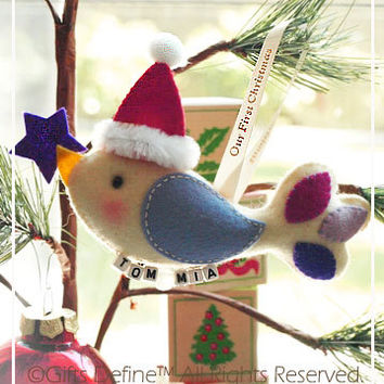 FREE SHIP Santa Bird Couple's First Christmas Holiday Keepsake - Personalized with Couples Names - Unique Stocking Stuffer, Holiday Gifts