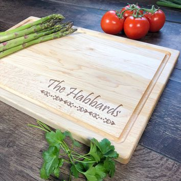 Personalized Cutting Board. Custom Name Wood Board. Bridal Shower Gift. Engagement Gift. Engraved Board. #7