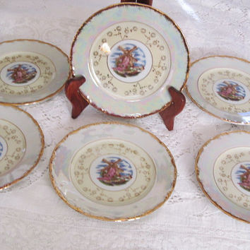 Lustreware  China Bread / Lunch Plates Set of 6 Windmill Motif