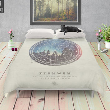 Fernweh Vol 3, duvet cover, bedding, duvets, duvet, forest duvet, nature duvet cover, home decor, bedroom, forest, night, stars, wanderlust.
