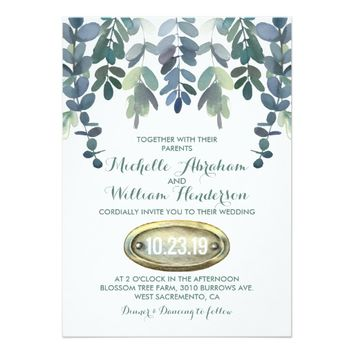 Rustic Eucalyptus Wedding Suite Invite | Greenery