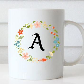 Floral Wreath Initial Coffee Cup | Mug | Bridesmaid Gift | Birthday | Bachelorette | Wedding | Christmas | Bridal Party Mug | Monogram Mug