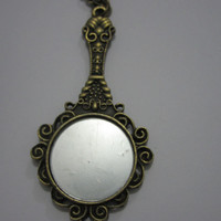 Unique and Different Vintage Hand Held Mirror Style Antiqued Bronze Necklace