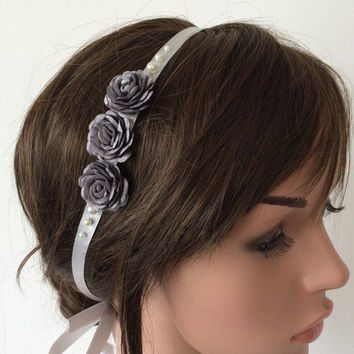 Bridal Roses Headband, Gray Hair Wrap, Satin Ribbon Hairband, Pearls and Roses Embroidered Wedding Hairband, Bridal Headpiece, Hair Jewelry