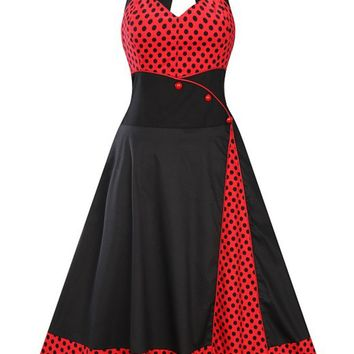 Casual Halter Color Block Polka Dot Skater Dress