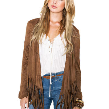 Khaki Long Sleeve Fringed Jacket