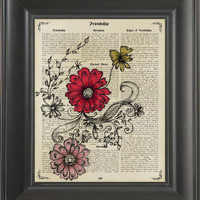 Flowers - printed on Friendship page  -  250Gram paper.