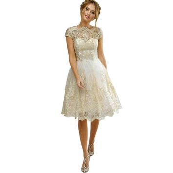 Women Lace Embroidery Prom Formal Party Dress