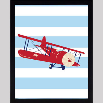 Red Airplane Light Blue Stripes Nursery Decor Baby Print Floral Art CUSTOMIZE YOUR COLORS 8x10 Prints Nursery Decor Art Baby Room Decor Kids