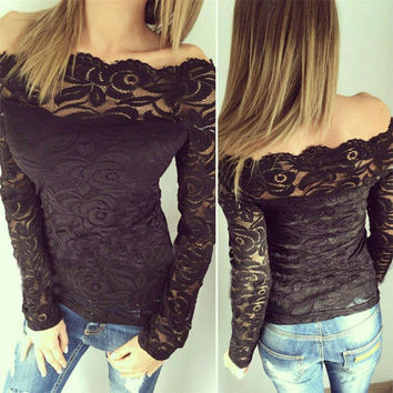 Black Lace T Shirt