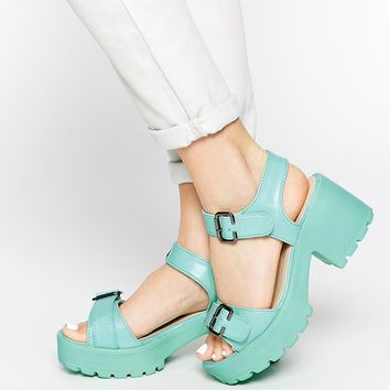 Truffle Collection Platform Buckle Strap Sandals at asos.com