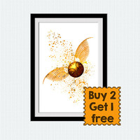 Golden snitch poster Harry Potter watercolor print Golden snitch colorful illustration Home decoration Kids room wall art Nursery room  W360