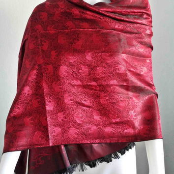 "100% Thai Silk Scarf Handmade, Red Silk Scarf, Elephant Vintage Fashion,  20x70"" Winter Scarf, Large Silk Scarf for winter"