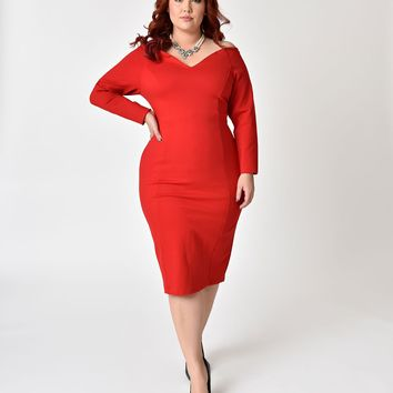Unique Vintage Plus Size 1960s Red Cotton Long Sleeved Cape Cod Wiggle Dress