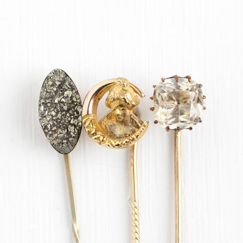 Antique Victorian & Edwardian Era Gold Washed Stick Pins - Pyrite , White Paste or Woman in Crescent Moon Unique Vintage Stickpin Jewelry