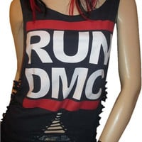 Slashed / Shredded / Destroyed  Vintage RUN DMC Band Tshirt OOAK