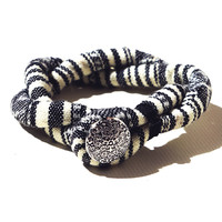 Black and White Striped Bracelet