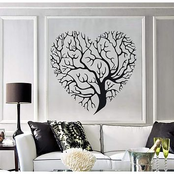 Wall Vinyl Sticker Decor Abstract Image Tree Branch Formed  Heart Shape Unique Gift (n184)