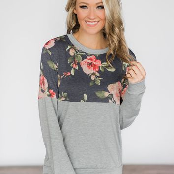 Your Basic Floral Crew Neck~ Navy