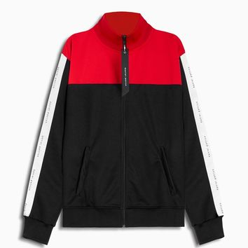 slim track jacket / black + red + ivory