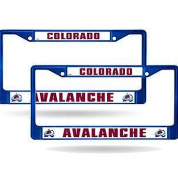 Colorado Avalanche Blue Painted Chrome Metal (2) License Plate Frame Set