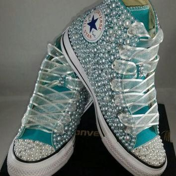 LMFUG7 Bridal Converse- Wedding Converse- Bling & Pearls Custom Converse Sneakers- Personaliz