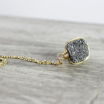 Silver Druzy Necklace, Drusy Quartz Necklace, Wire Wrap Necklace, Gold Fill Necklace, Platinum Gemstone Necklace, Silver Pendant Necklace