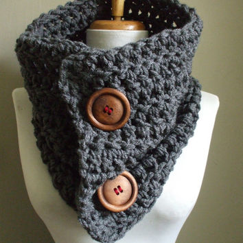 Super Chunky Cozy Crochet Cowl NeckWarmer Scarflette Scarf Cowl CHARCOAL GRAY Never Looked So Good Unisex Men Women Ready to Ship