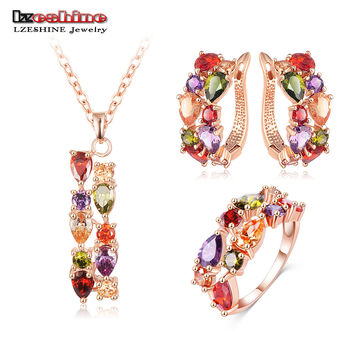 LZESHINE New Top  Rose Gold Color Flower Jewelry Set Multicolor Cubic Zircon Pendant/Earrings/Ring Women Wedding Jewelry Sets