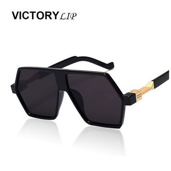 VictoryLip Flat Top Oversized 2016 Men Women Fashion Mirror Sunglasses Rock Rap Sunshades Lady UV400 Male Cool Sun Glasses