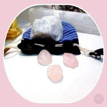 """Inner Growth & Self Love"" Natural Moonstone & Rose Quartz Set"