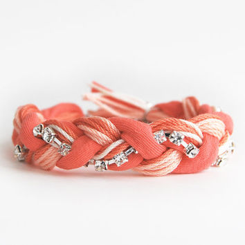 Coral friendship bracelet, coral bracelet with rhinestone chain, jersey braided bracelet in coral and orange