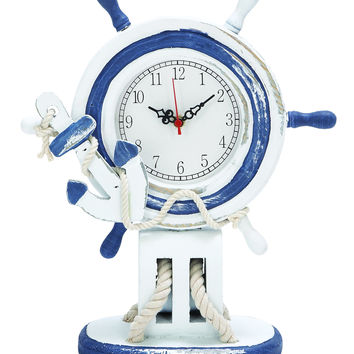 Antiqued Wooden Steering Wheel Clock In Blue And White Color
