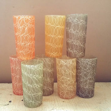 Color Craft Rubberized Spaghetti String Glasses Twelve Ounce Tumblers by Flambeau Set of Eight