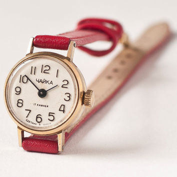 Vintage wrist watch Chaika tiny little for ladies red by SovietEra