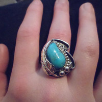Authentic Navajo,Native American,Southwestern vintage style,traditional sleeping beauty turquoise nugget ring. Size 8 1/2. Can be adjusted.
