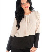 Beige Black Two-Tone Long Sleeve Blouse